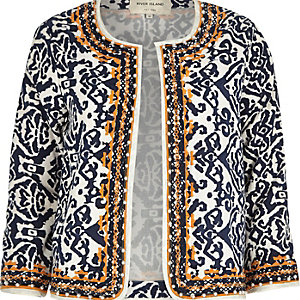 Orange jacquard embellished boxy jacket
