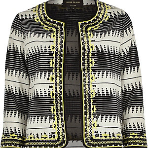 Black jacquard embellished boxy jacket