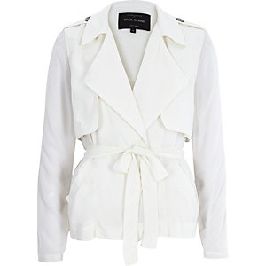 Cream sheer sleeve cropped trench coat