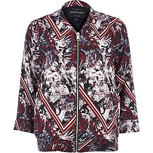 Red crepe leaf print bomber jacket