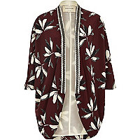 Red floral print embellished collar kimono