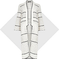 White lace longline kimono
