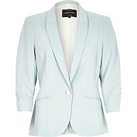 Mint green long sleeve fitted tailored blazer