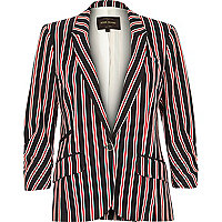 Navy stripe tailored structured jersey blazer