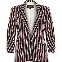 Navy stripe tailored structured jersey blazer