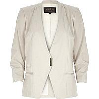 Beige fitted ruched sleeve blazer