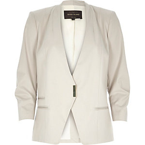 Beige fitted ruched sleeve blazer