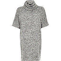 Grey jersey cowl neck batwing sleeve dress