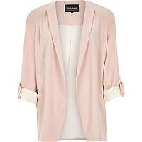 Pink crepe relaxed casual blazer