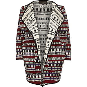 Cream tribal jacquard drape coat