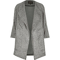 Black metallic tweed boucle drape coat
