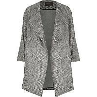 Black metallic tweed boucle drape coat