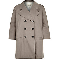 Grey twill double breasted relaxed coat