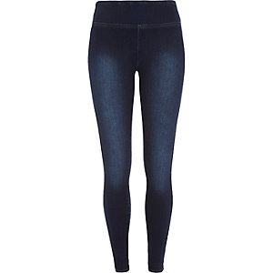 Mid wash high waisted denim leggings