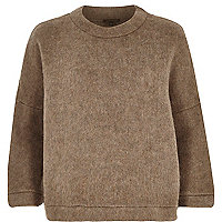 Brown soft felt boxy jumper
