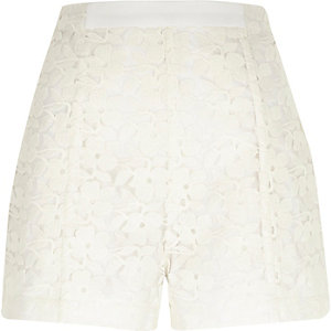 White lace high waisted shorts