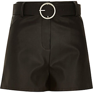 Black leather-look belted high waisted shorts