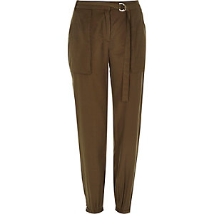 Khaki luxe utility D ring trousers