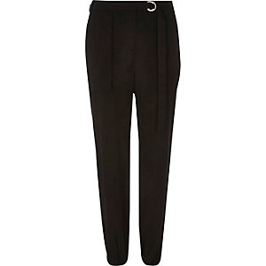 Black luxe utility D ring trousers