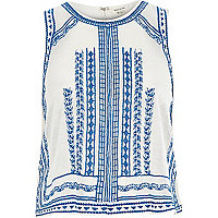 Cream embroidered sleeveless tank top