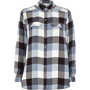 Blue check casual shirt