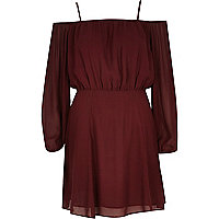 Dark red lightweight crepe bardot dress