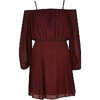 Dark red lightweight crepe bardot dress