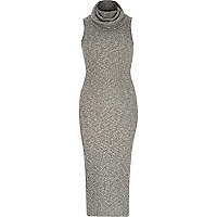 Grey knitted bodycon cowl neck midi dress