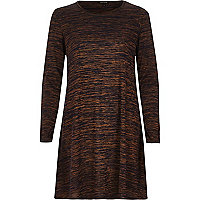 Brown space dye swing dress