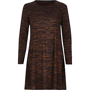 Brown space dye swing dress