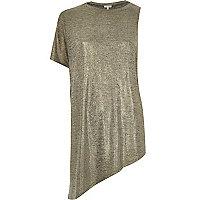 Metallic gold one sleeve asymmetric t-shirt