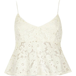 Cream lace short cami