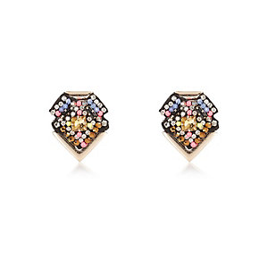 Gold tone beaded stud earrings