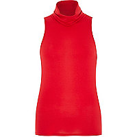 Red jersey sleeveless high neck top