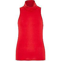 Red jersey sleeveless high neck top