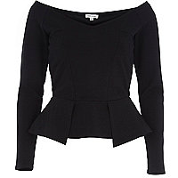 Black peplum bardot top