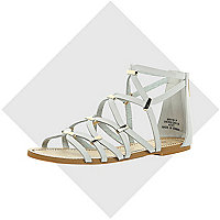 Grey gladiator sandals