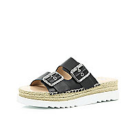Black buckle flatform sandals