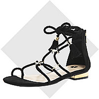 Black woven gladiator sandals