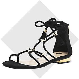 Black woven gladiator sandals