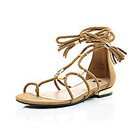 Brown woven gladiator sandals