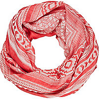 Red lightweight Aztec print square scarf