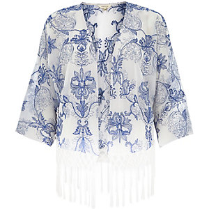 White china print fringed kimono
