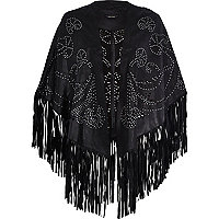 Black studded fringed leather cape