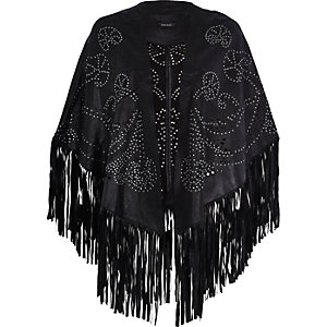 Black studded fringed leather cape