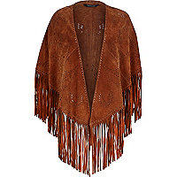 Brown laser cut suede fringed cape