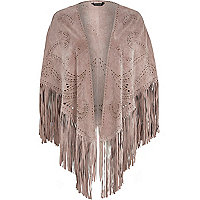 Light pink studded fringed suede cape
