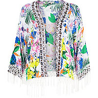 White floral print fringed cape cover up