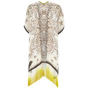 Cream paisley print tassel kimono