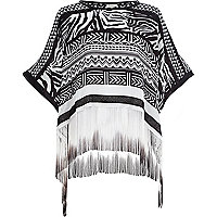 Black printed fringed kimono